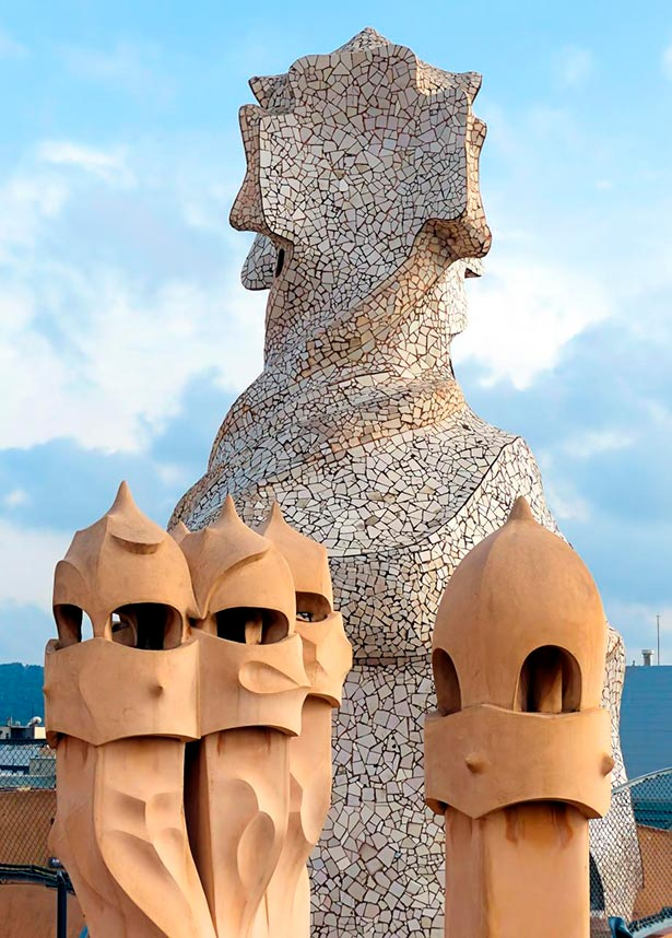 The chimneys representing petrified warriors at the roof terrace of Casa Milà, La Pedrera, by Antoni Gaudí