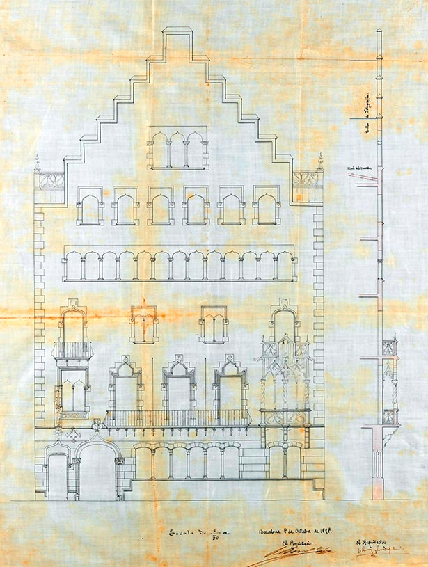 Casa Amatller by Puig i Cadafalch. Original elevation of the facade before the changes forced by the City Council (1898)