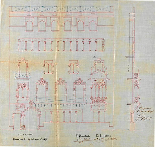 Casa Amatller by Puig i Cadafalch. Elevation of the facade (1899)